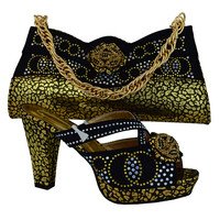 2016 High quality shoes and bags set black+gold italian shoes matching bag MM1007