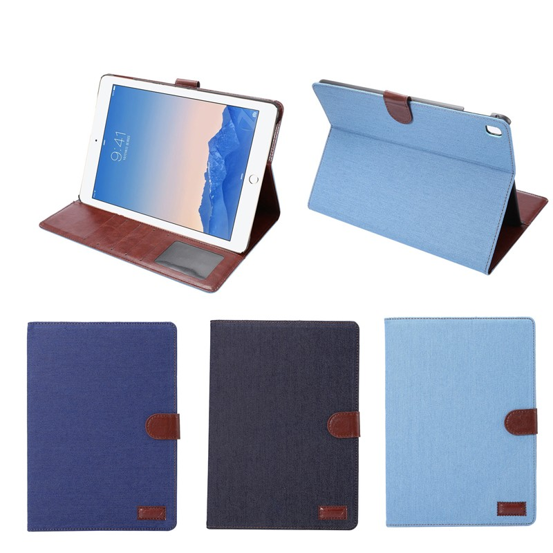 Jeans Style leather stand case for ipad pro 9.7 inch with cards slots , for ipad pro 9.7inch cover