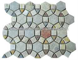 "Autumn Mist Slate Autumn Mist 2"" x 2"" Beehive Natural Cleft Multi-Surface Mosaic Tile"