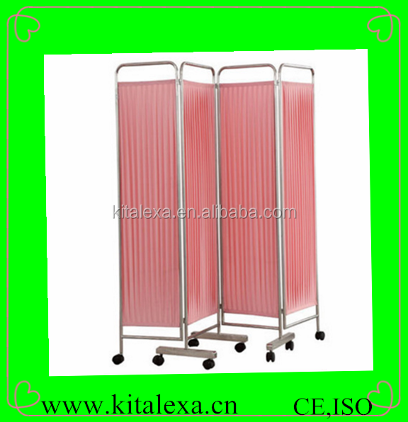 HOT Sale stainless steel frame 4-folding ward screen with 8 wheels