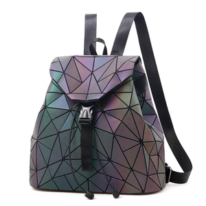 Geometric Luminous Shard Lattice Eco-Friendly Leather Rainbow Holographic Backpack