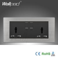 Wholesaler Wallpad Luxury 146 Wall Light Switch Panel UK Double 1 Gang 3 Pin 13A Universal Socket Switch Outlet