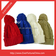 New brand latest designer cute cable style warm soft winter beanie hats with a ball