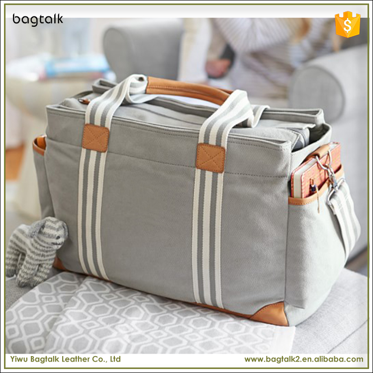 1DP0001 Wholesale Amazing and Fashion Cotton Canvas Leather Travel Mother Baby Diaper Bag with Changing Pad