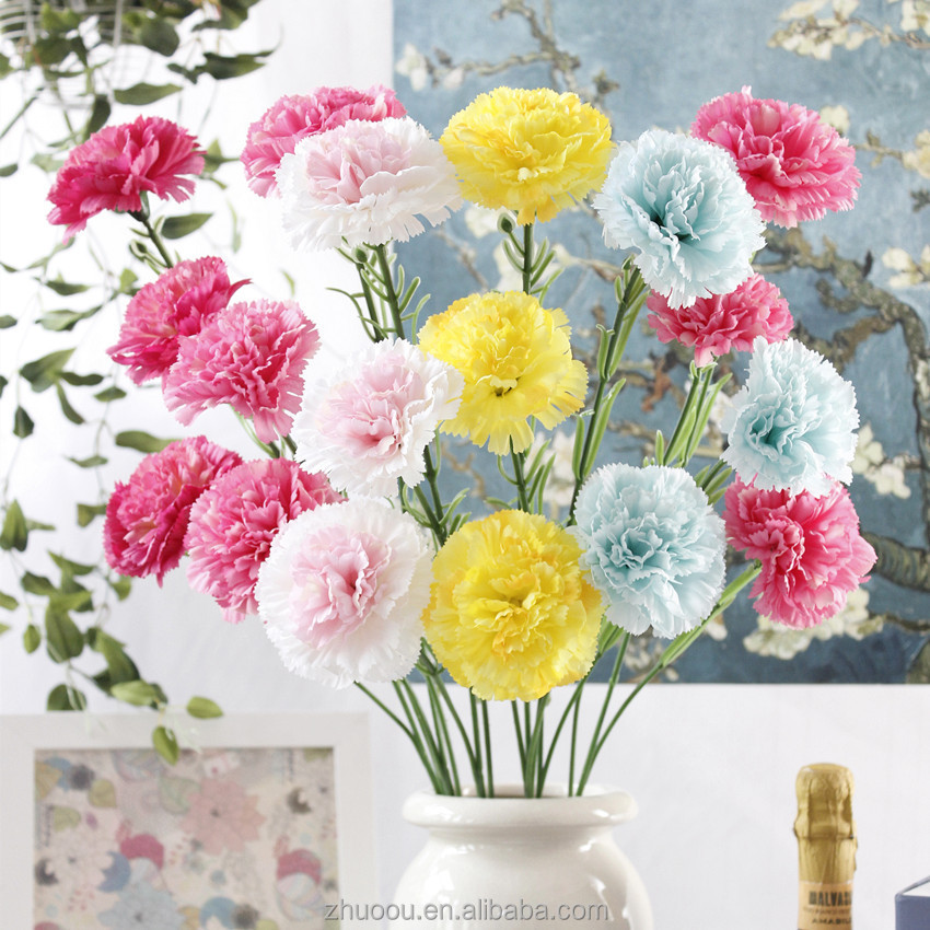 3 Fork Fake Floral Carnation Silk Artificial Flowers Mini Best Artificial Flowers Mother's Day Gifts