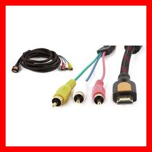 HDMI to 3 RCA Video Component Cable 5FT Converter Support 4k*2K,1080p,3D,Ethernet