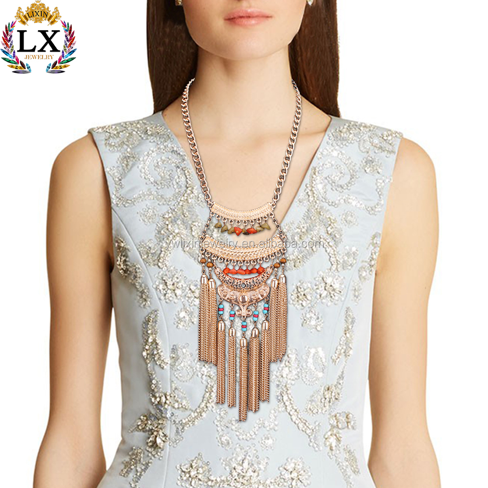 NLX-00298 vogue gold silver plated chunky pendant long statement boho fancy chain necklace tribal jewellery