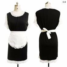 2017 New Black Short sleeve round neck with lace trim White apron with lace Vintage uniform theme French Maid costume