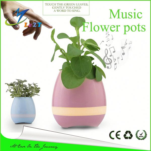 Round indoor plastic Bluetooth Led soft piano music smart flower pot