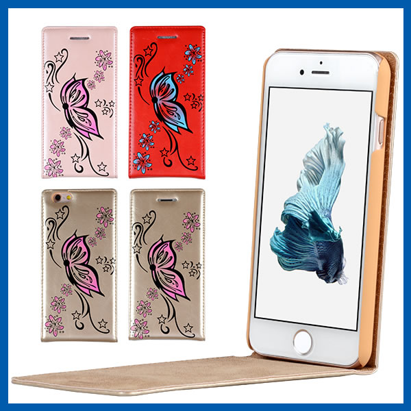 C&T Butterfly & Flowers Pattern PU Leather Wallet Vertical Magnet Design Flip Case Cover for Apple iPhone 6 Plus 5.5 inch