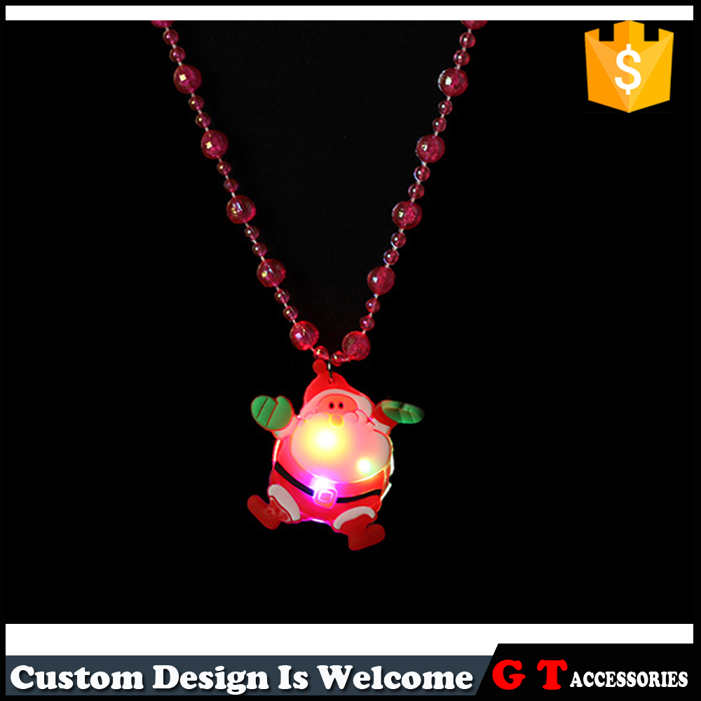 LED Light Up Glowing Chistmas Necklace Flashing Santa Claus Shaped Pendant Necklaces