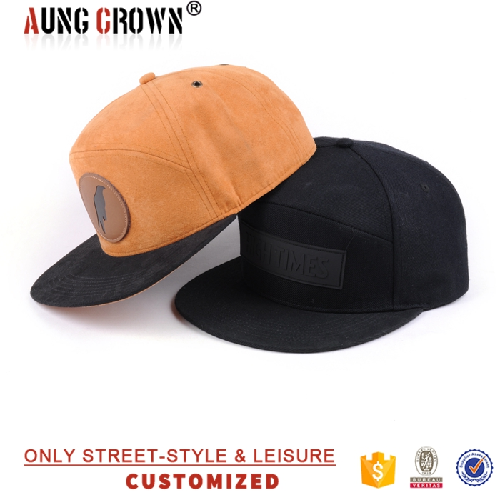 Custom special 6 panel design you own leather patch suede snapback cap
