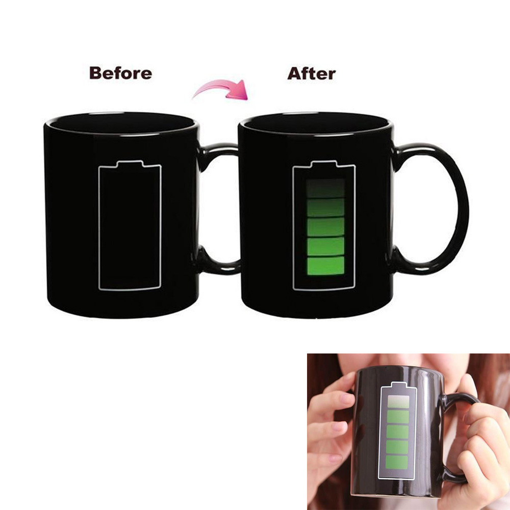 2016 Top seller sublimation Coffe mug Battery Heat Sensitive Temperature Color Changing Mug