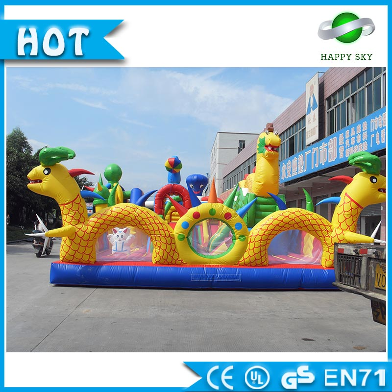 Adults Amusement park!! Fantastic Chinese dragon inflatable amusement park for kids, giant inflatable playground