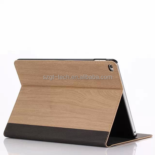 Wood Grain Pattern Smooth Flip Stand Hard Blank Leather Case For ipad air|air 2