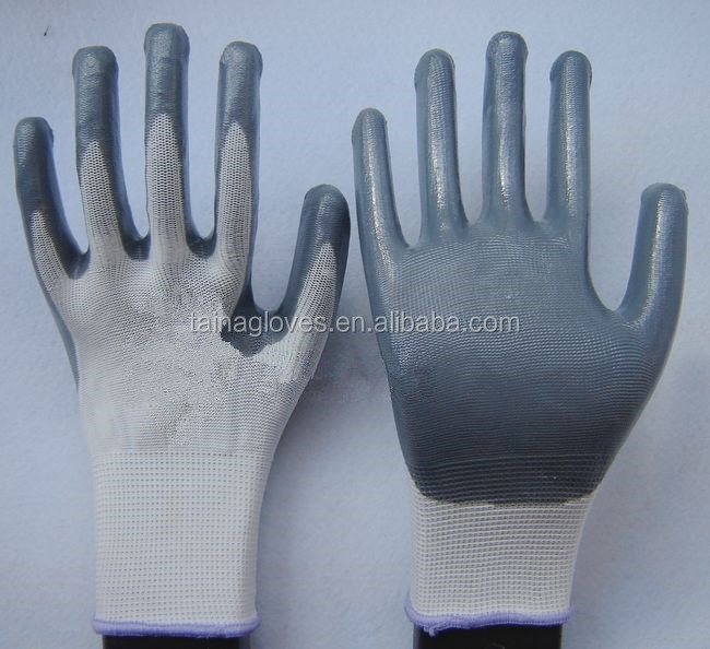 Nitrile Coated cotton knitted hand gloves Safety work Gloves