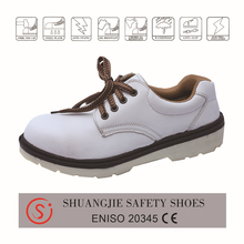 SJNO.9146 low cut safety boots/esd work shoes industry, white microfibre leather upper, injection construction dual pu outsole