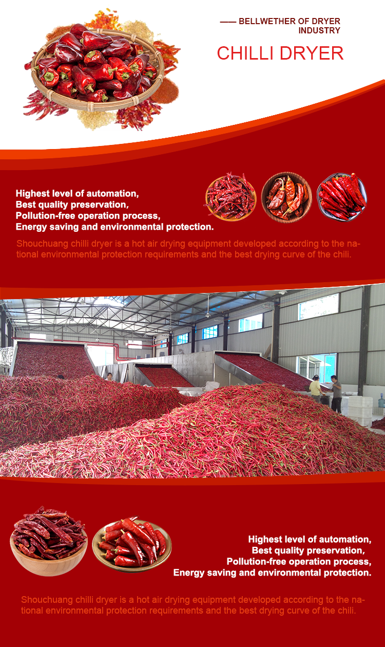 2018 New Design Low Price pepper/chilli Belt Dryer