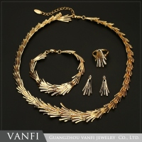 Fashion 4Pcs Costume Wedding Jewellery Sets 18K Gold Plated African Fine Jewelry Set