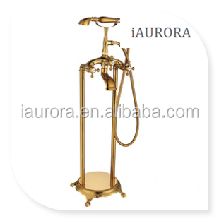 classical double lever bathroom shower gold color faucet