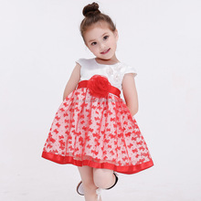 princess western party flower girl dresses long train a-line wedding dress red and white