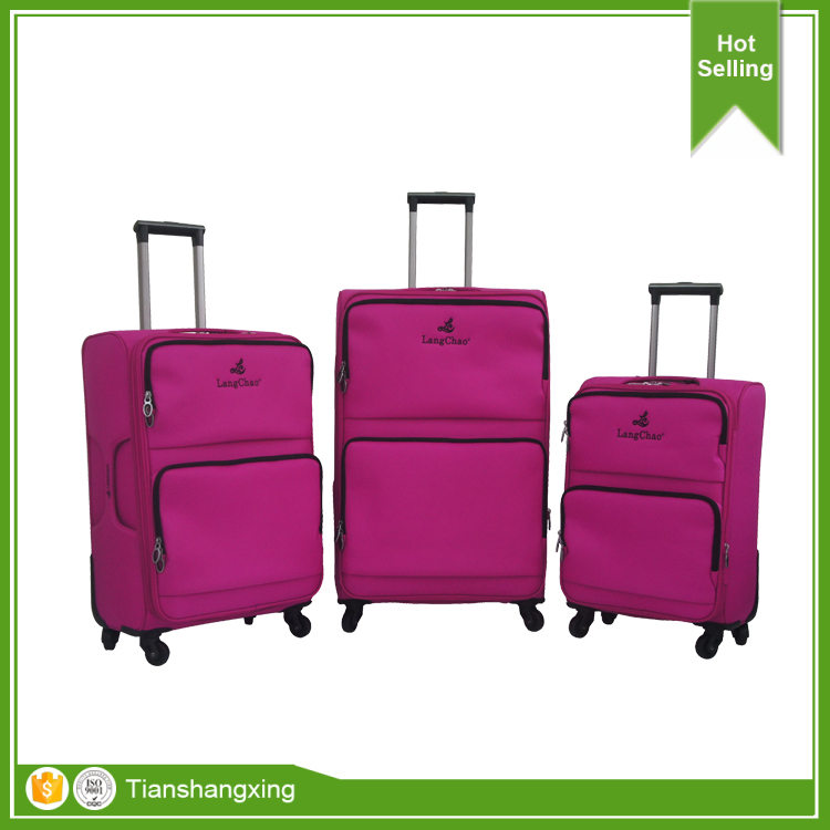 3pcs luggage set spinner wheel fabric luggage bag, hot sale newest design luggage bags cases