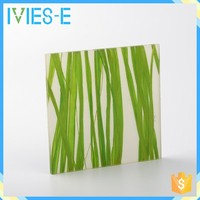 Fresh style embed green plant self-extinguishing eco-resin chinese restaurant decoration