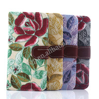 Wholesale High Quality Flower pattern wallet leather case for samsung Galaxy S4 , for Samsung S4 i9500 cases with stand