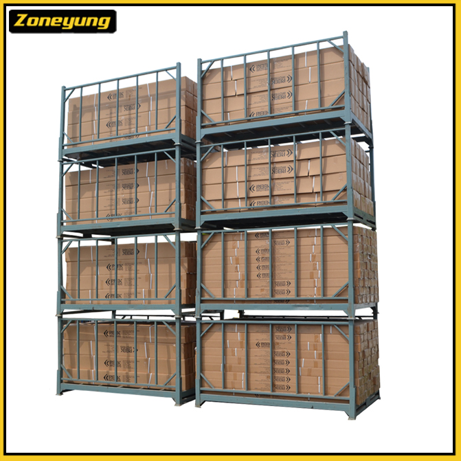 Durable collapsible shippable storage steel stack racks