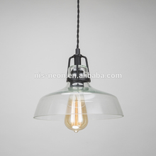 Modern Industrial Clear Hand Blown Glass Shade Pendant Ceiling Lamp Kitchen Light