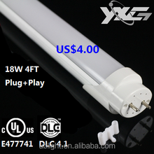 120Lm/W 18W 4ft T8 LED Tube 5 years warranty Type A +Type B UL DLC 4.1 LED fluorescent tube light, dual model