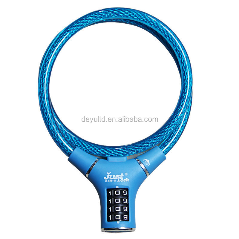 4 digit combination bike lock, Ring type spiral cable lock for bicycle lock and motorcycle