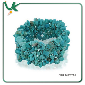 8 Inch Wrist Multiple Woven Strands Stretch Turquoise bead bracelet