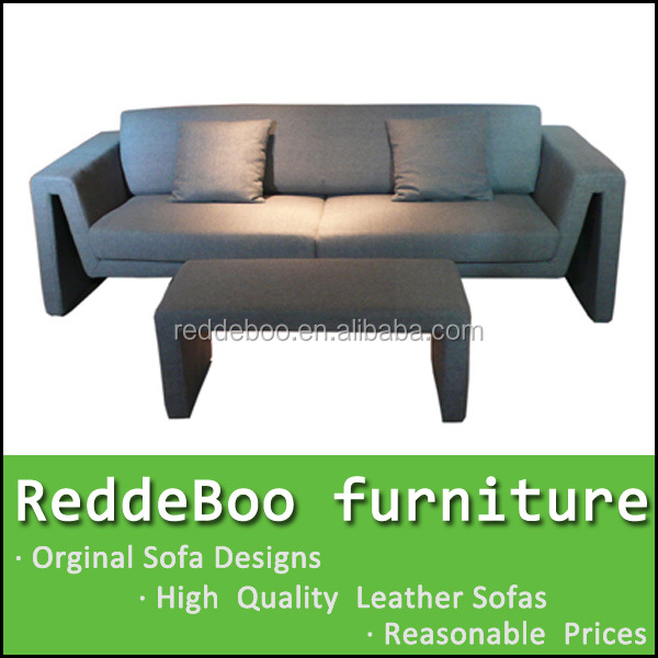 rexine fabric sofa with a cute ottoman