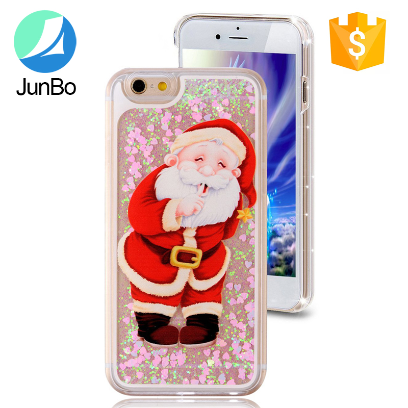 2017 trending products Fashion Christmas bling liquid case for iphone 6 plus