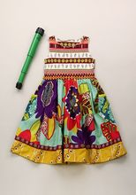 Remake Beauty kids boutique colorful cotton clothes children back to school frock flower dresses