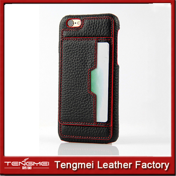 leather back case for iphone 6 with card slot and support