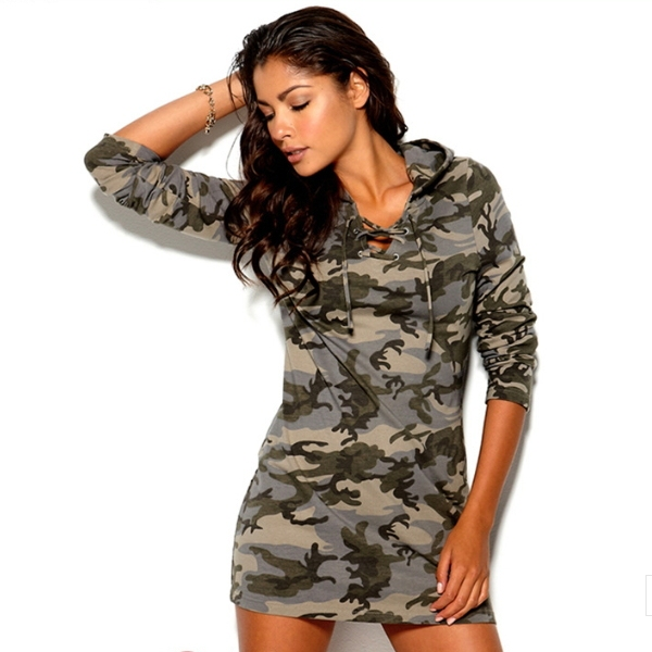 MS65771W long sleeve with hood women camouflage dress