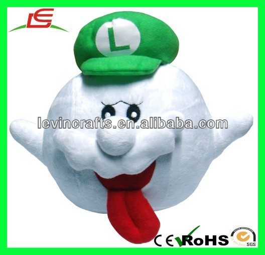 "LE h1760 Nintendo Super Mario Bros Boo Ghost 8"" Green Plush Doll"