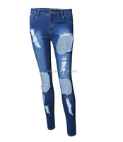 Stock/OEM Design Deep Hole Ripped Denim For Push Up Women Jeans