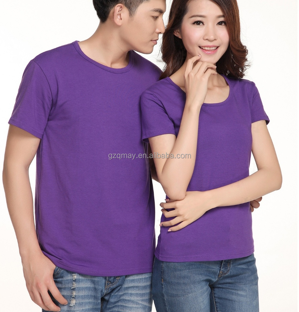 usa wholesale clothing XXXL alibaba womens solid color ruffle bottom korea wholesale stock t-shirt for couples in purple