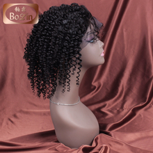 Wholesale Mongolian kinky curly hair wigs natural color human hair full lace wig short curly wig for black women