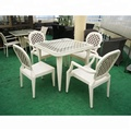 Alu. frame white rattan grid pattern dining set simple design garden dining set