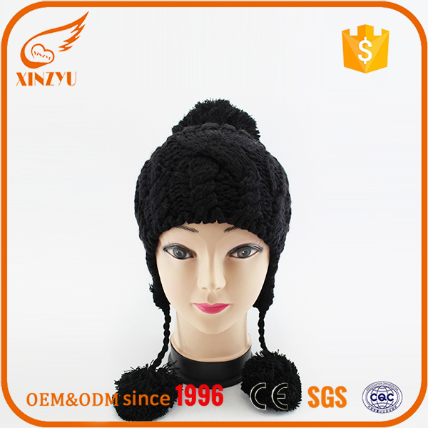 Knitting hat toppers Chinese factory plain black knitting hat for boys