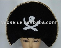 Cheap black pirate skull hat with custom Halloween logo