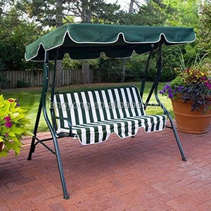 3 Seater Steel Frame Patio Swing Chair With Cushions And Canopy