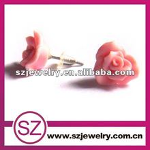 Beautiful polymer clay rose flower stud earring