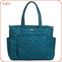 Stylish quilted nylon baby changing diaper bag