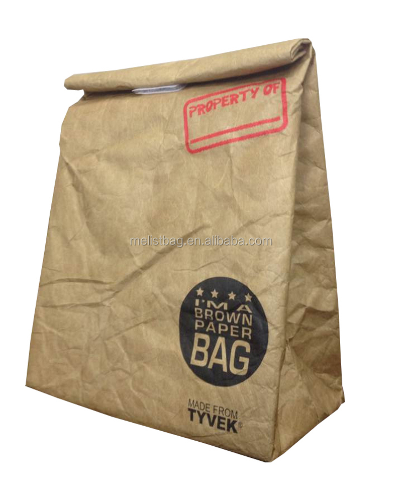 2017 High quality insulate recycled brown Tyvek paper Lunch Bag for sale
