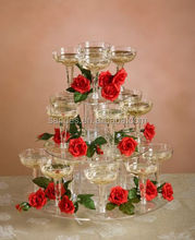 Clear Tower Circle Acrylic Plastic Rose and Whine Display Tray